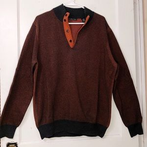 Men's Quarter Button-up Pullover Sweater- Large